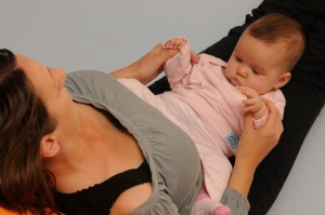 Legs up the wall pose: with baby up the legs!
