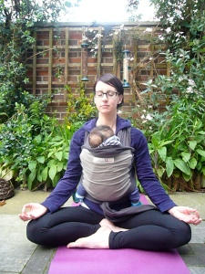 This is me actually.. Wearing the fab JPMB stretchy wrap, having some lovely outdoor relaxation with my 2nd born, approx 5 months old (: